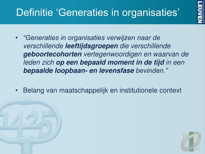 Definitie 'Generaties in organisaties'