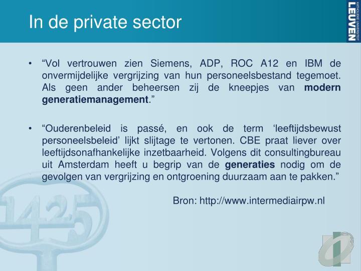 In de private sector