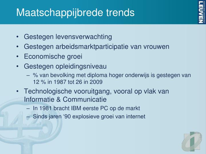Maatschappijbrede trends
