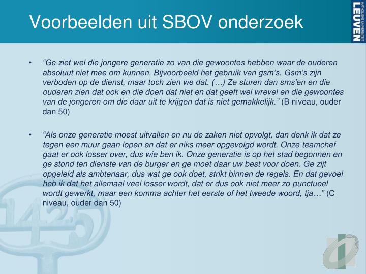 Voorbeelden uit SBOV onderzoek