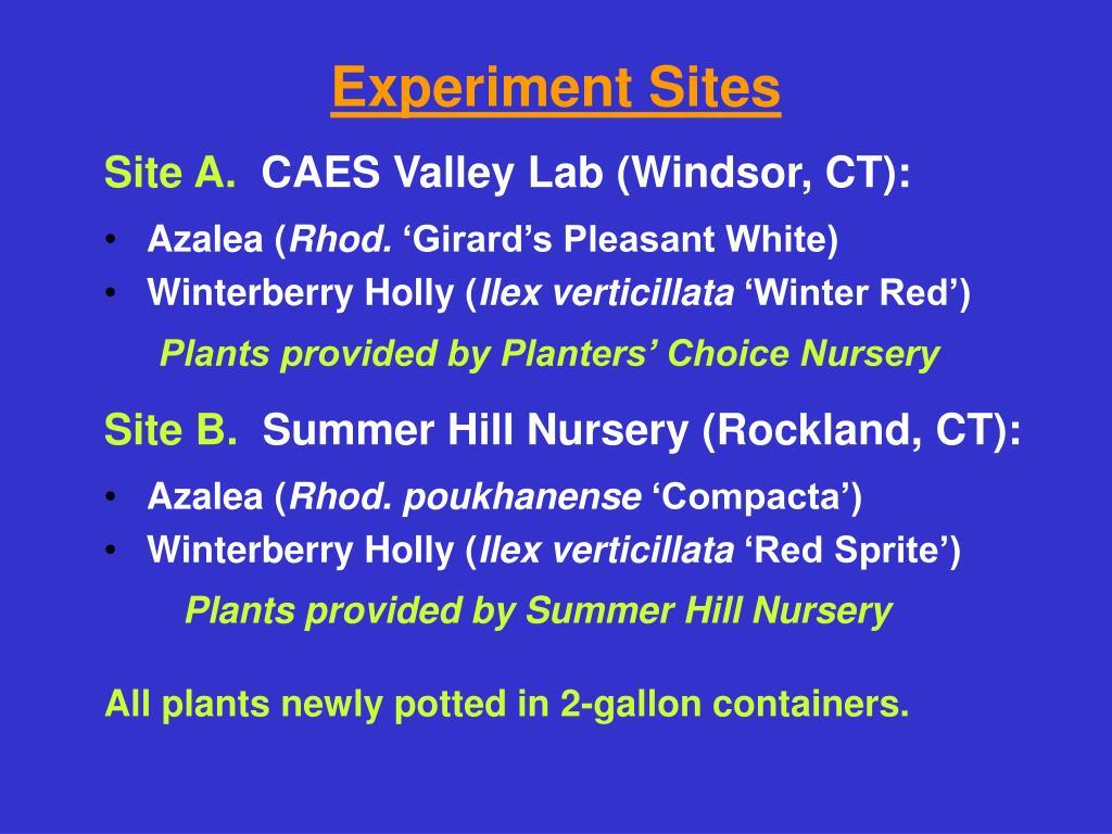 Experiment Sites