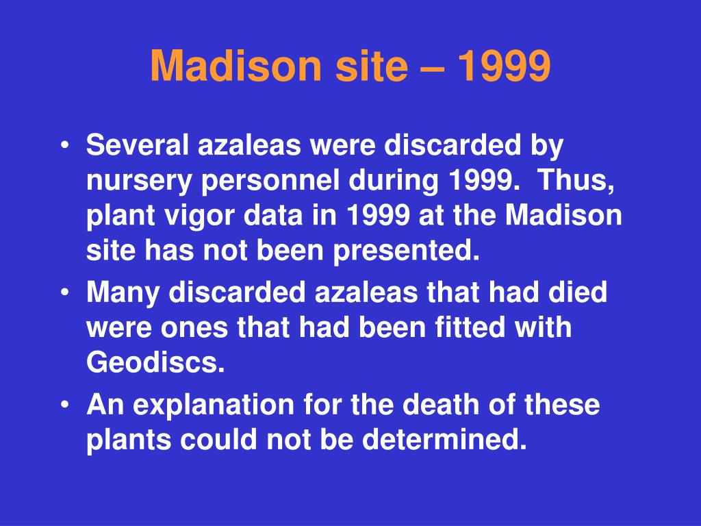 Madison site – 1999