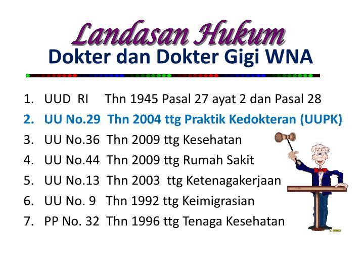 Dokter dan Dokter Gigi WNA