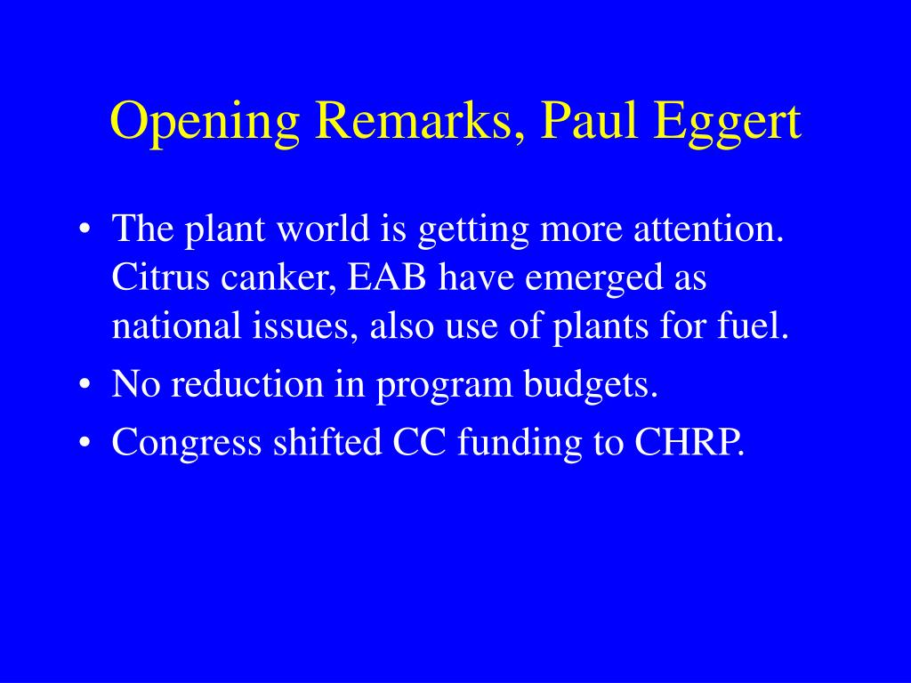 Opening Remarks, Paul Eggert