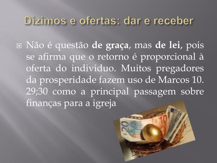Dízimos e ofertas: dar e receber