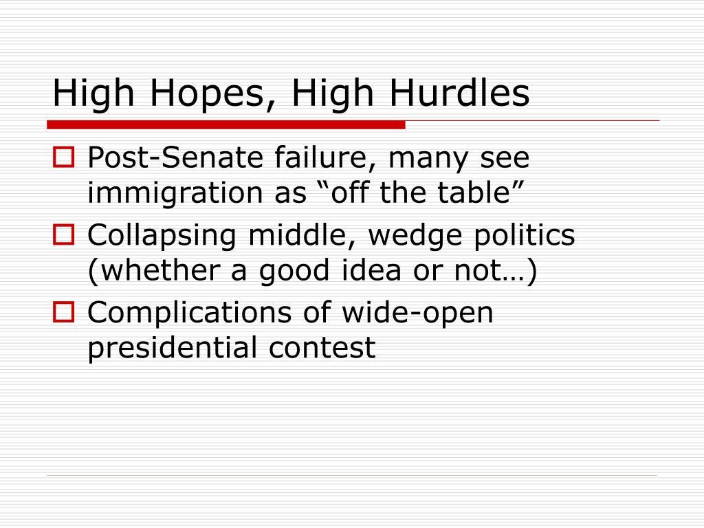 High Hopes, High Hurdles