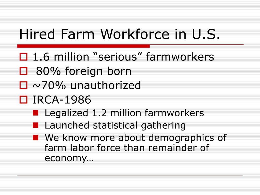 Hired Farm Workforce in U.S.