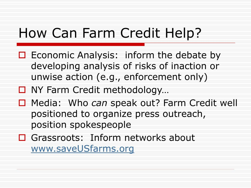 How Can Farm Credit Help?