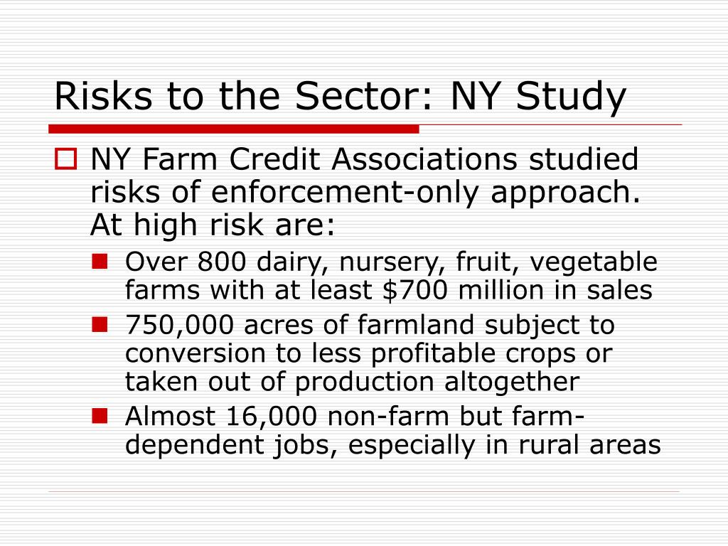 Risks to the Sector: NY Study
