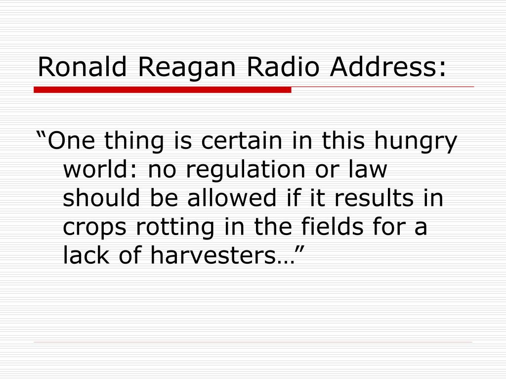 Ronald Reagan Radio Address: