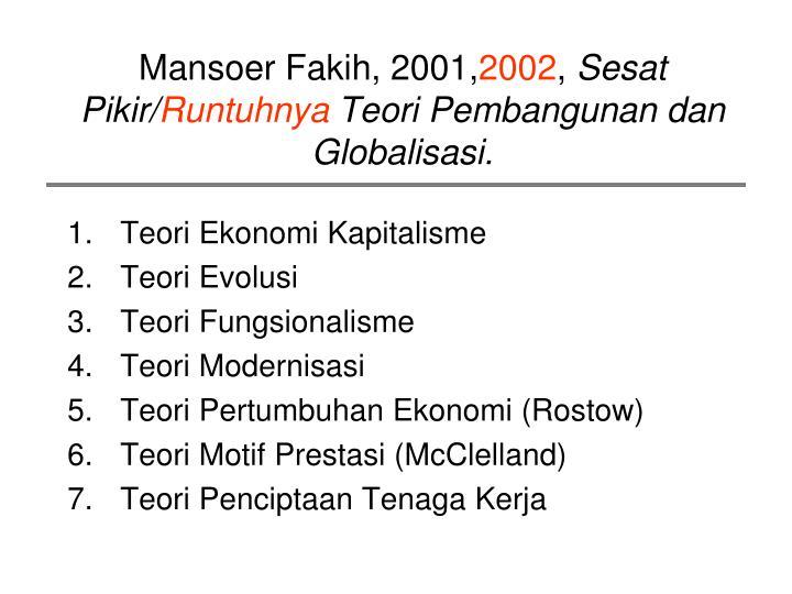 Mansoer Fakih, 2001,