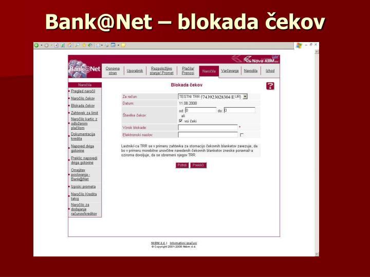Bank@Net – blokada čekov