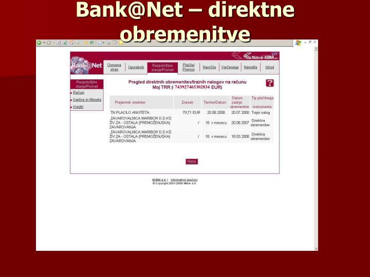 Bank@Net – direktne obremenitve