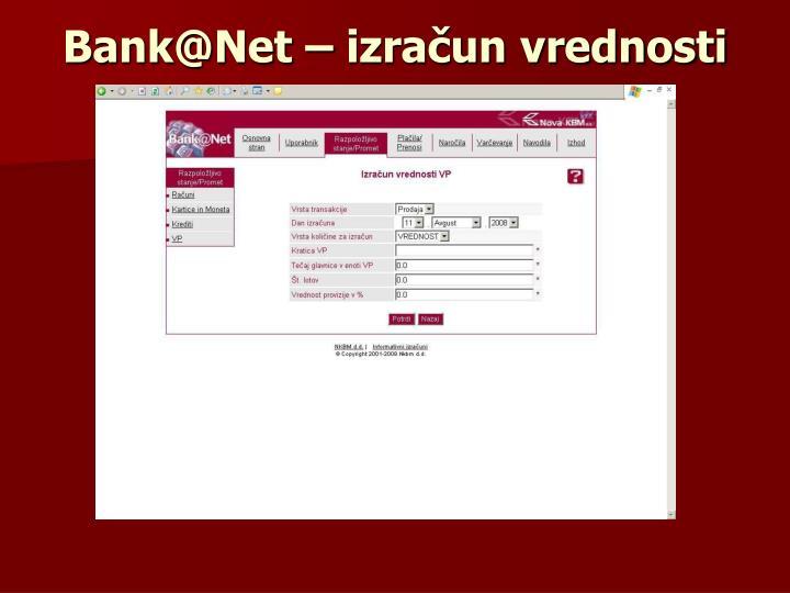 Bank@Net – izračun vrednosti