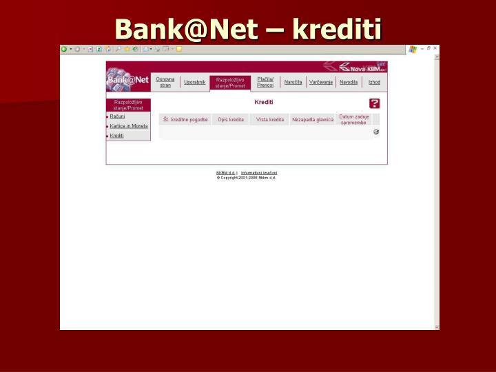 Bank@Net – krediti
