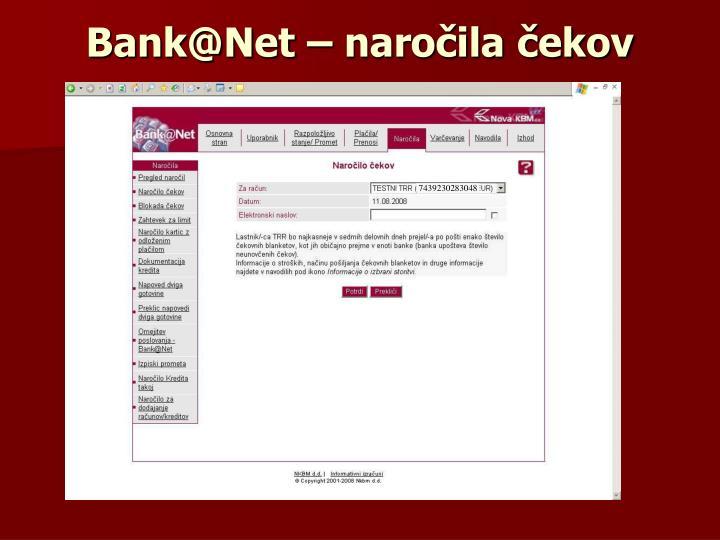 Bank@Net – naročila čekov