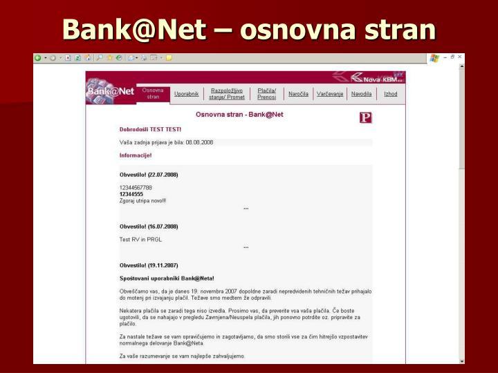 Bank@Net – osnovna stran