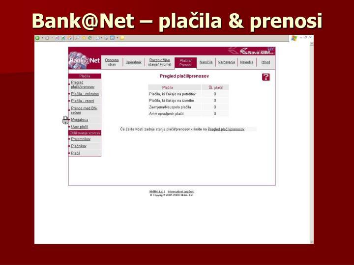 Bank@Net – plačila & prenosi