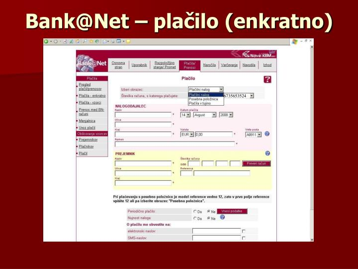 Bank@Net – plačilo (enkratno)