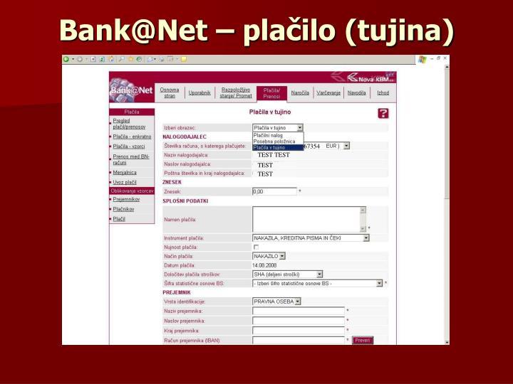 Bank@Net – plačilo (tujina)