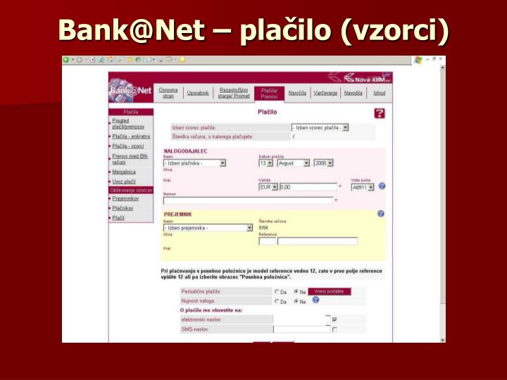 Bank@Net – plačilo (vzorci)