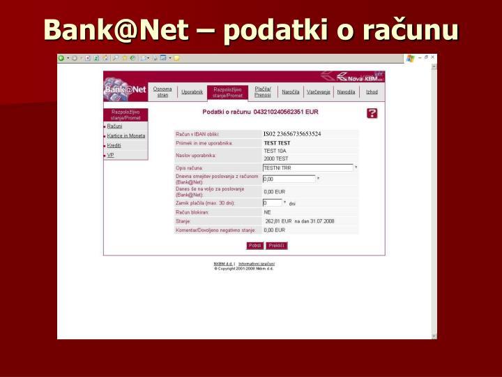 Bank@Net – podatki o računu