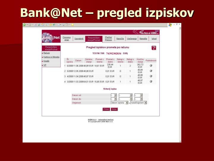 Bank@Net – pregled izpiskov