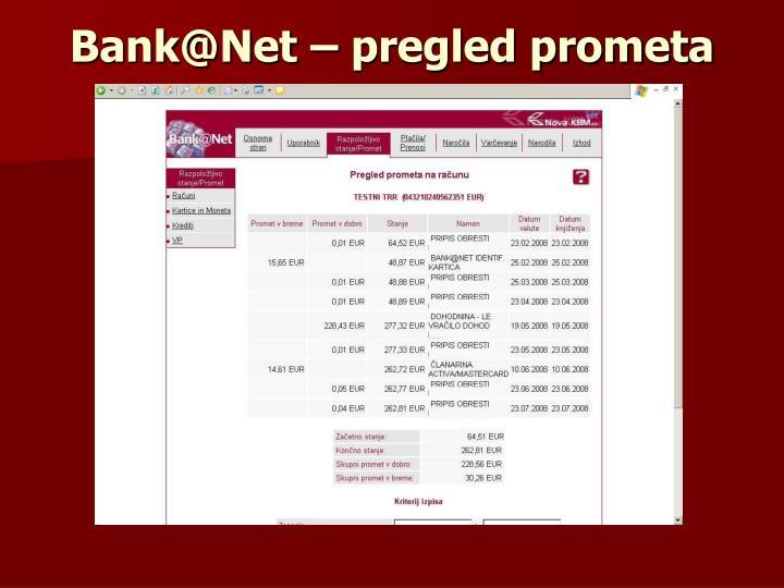 Bank@Net – pregled prometa