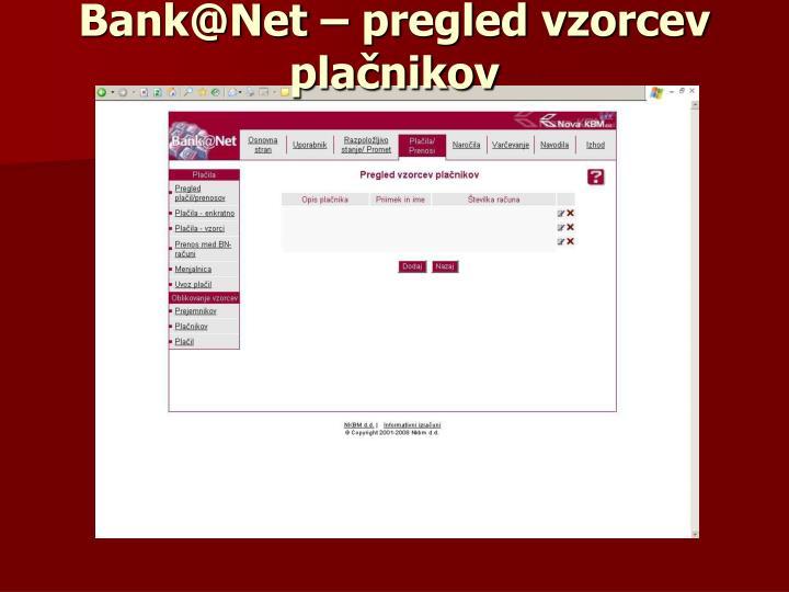 Bank@Net – pregled vzorcev plačnikov