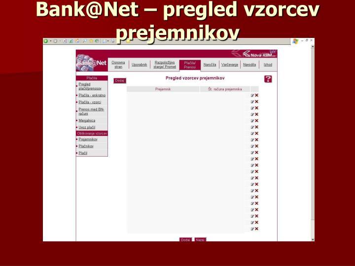 Bank@Net – pregled vzorcev prejemnikov