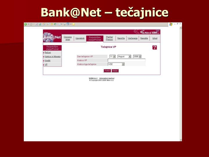 Bank@Net – tečajnice
