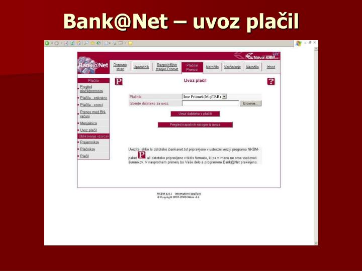 Bank@Net – uvoz plačil