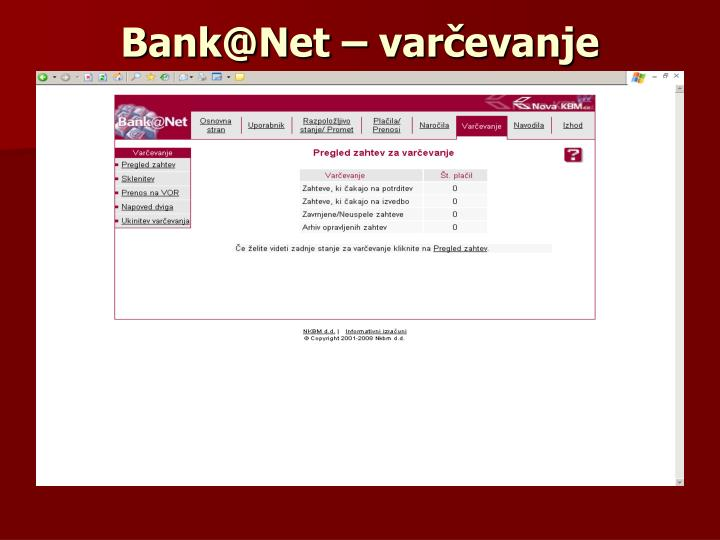 Bank@Net – varčevanje
