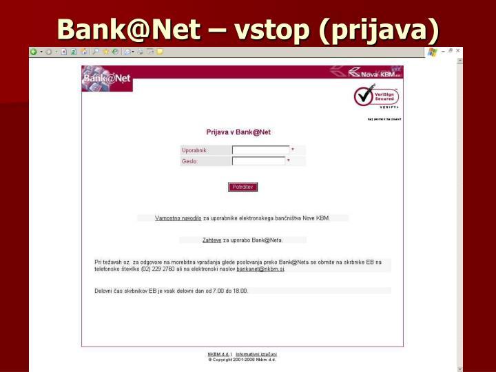 Bank@Net – vstop (prijava)