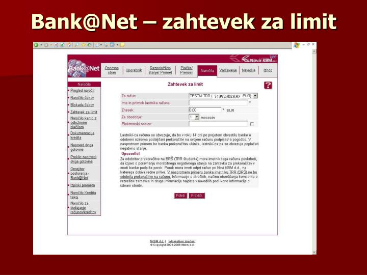 Bank@Net – zahtevek za limit