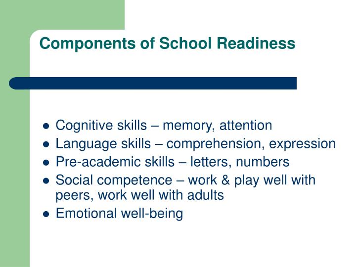 Components of School Readiness