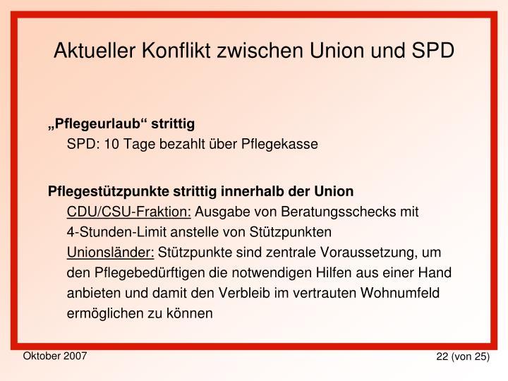 Aktueller Konflikt zwischen Union und SPD