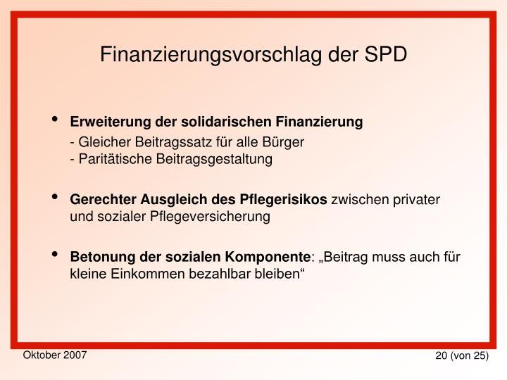 Finanzierungsvorschlag der SPD