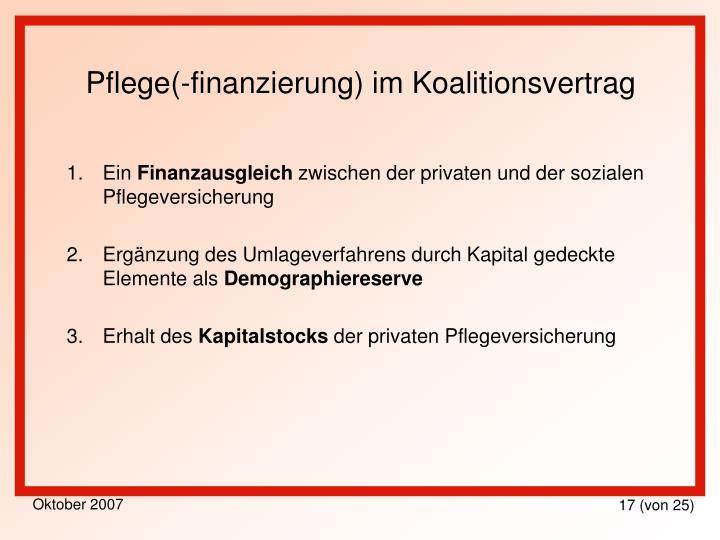 Pflege(-finanzierung) im Koalitionsvertrag