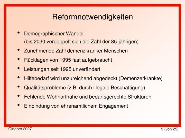 Reformnotwendigkeiten
