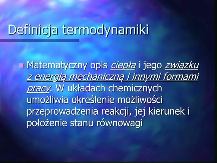 Definicja termodynamiki
