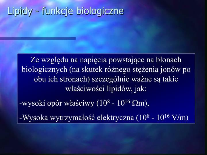 Lipidy - funkcje biologiczne