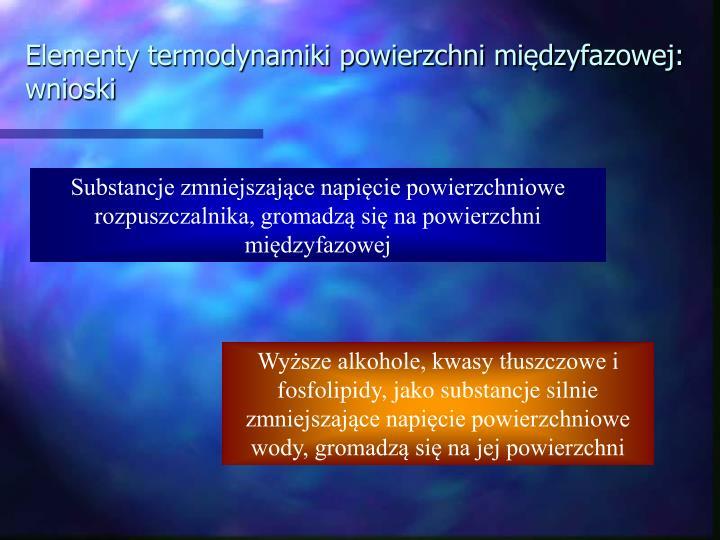 Elementy termodynamiki powierzchni międzyfazowej: wnioski