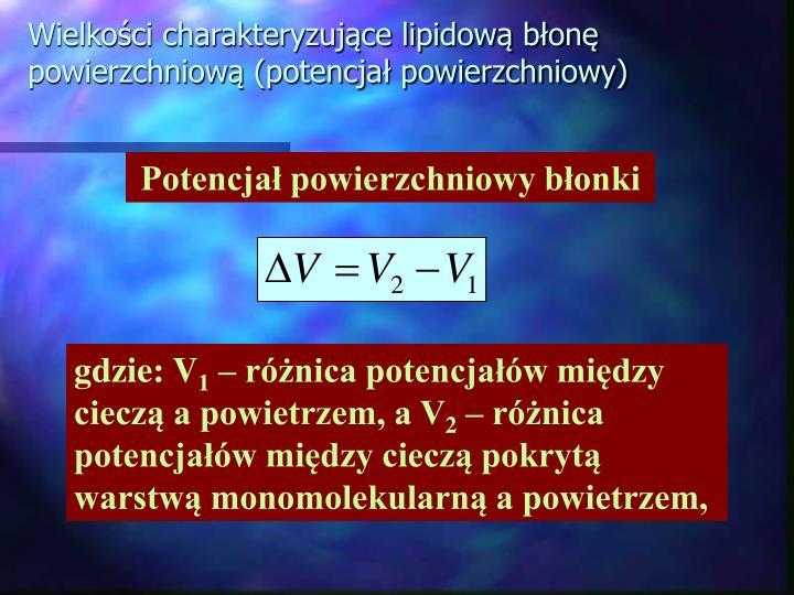 Wielkości charakteryzujące lipidową błonę powierzchniową (potencjał powierzchniowy)
