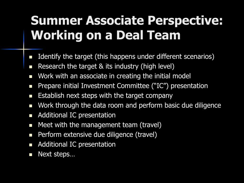 Summer Associate Perspective: Working on a Deal Team