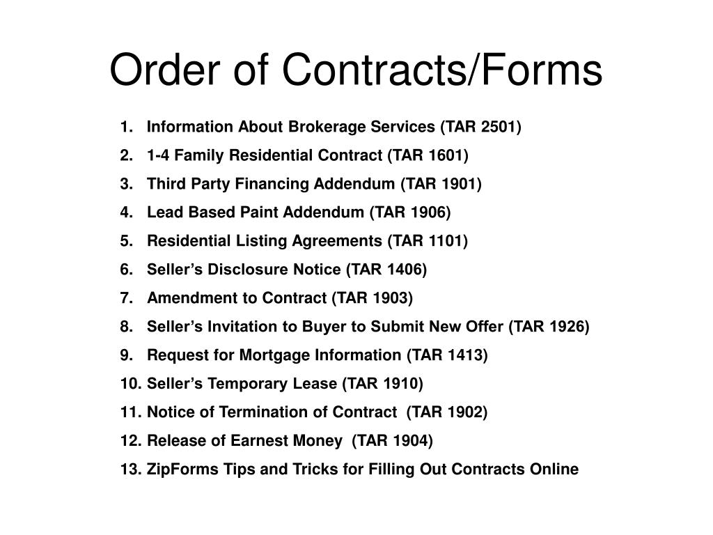 Order of Contracts/Forms
