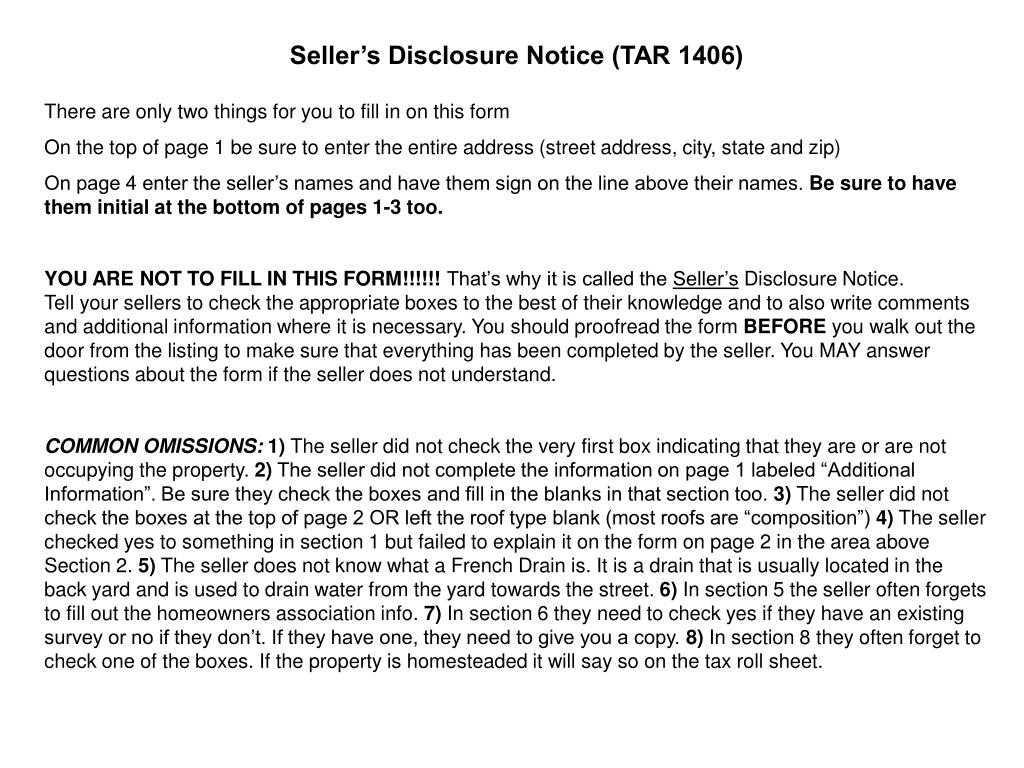Seller's Disclosure Notice (TAR 1406)
