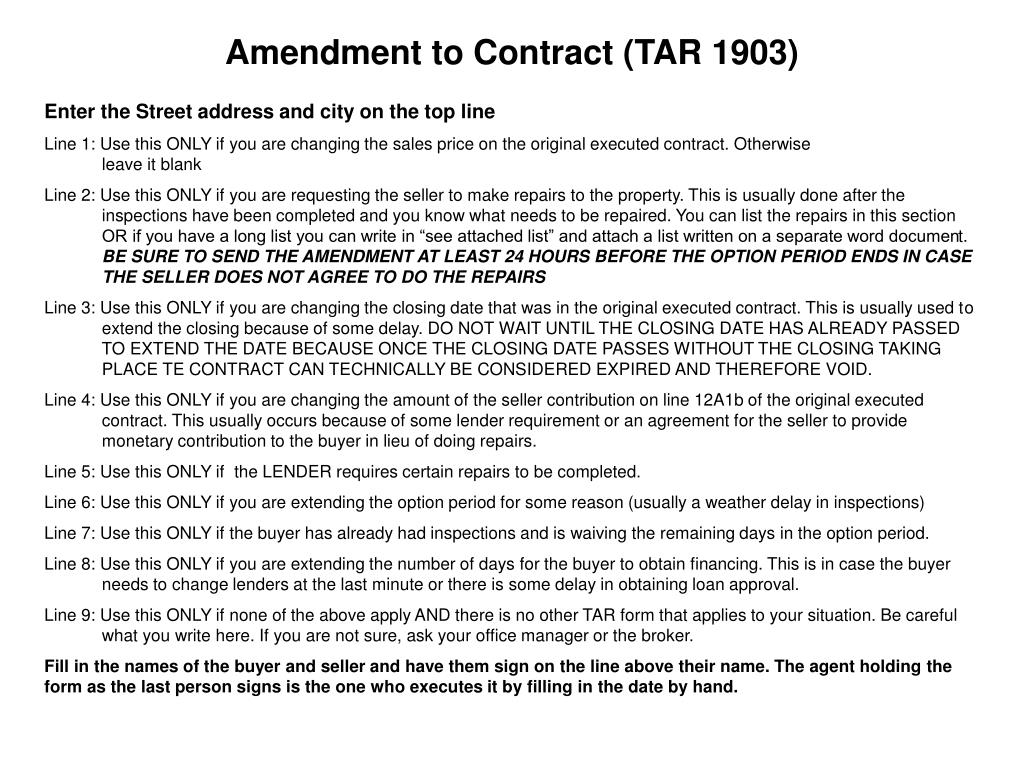 Amendment to Contract (TAR 1903)