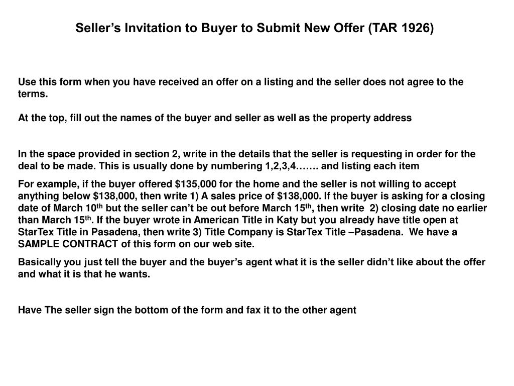 Seller's Invitation to Buyer to Submit New Offer (TAR 1926)