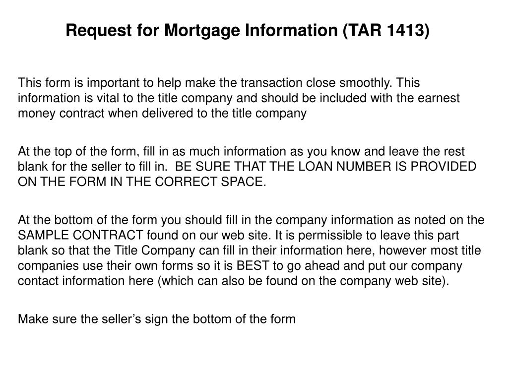 Request for Mortgage Information (TAR 1413)